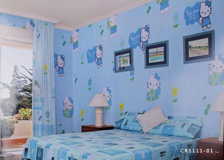 蓝色墙布装修效果图欧式
